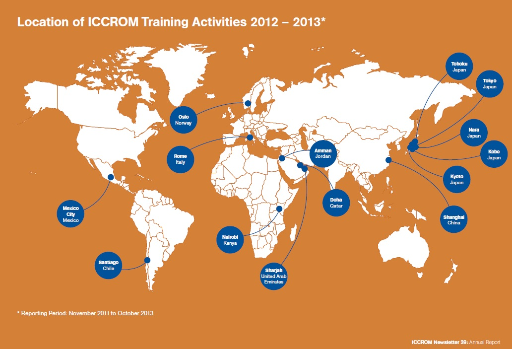 Location-od-Iccrom-training-activities-2012-2013